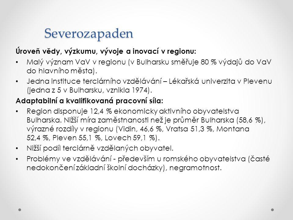 Severozapaden Úroveň vědy, výzkumu, vývoje a inovací v regionu: