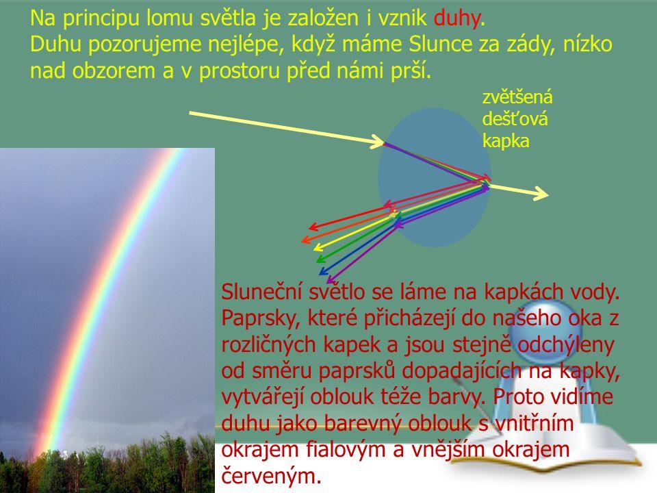 Na principu lomu světla je založen i vznik duhy