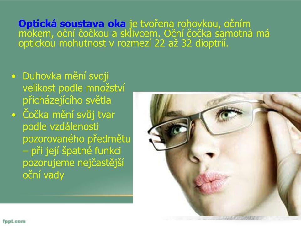 Optická soustava oka je tvořena rohovkou, očním mokem, oční čočkou a sklivcem. Oční čočka samotná má optickou mohutnost v rozmezí 22 až 32 dioptrií.