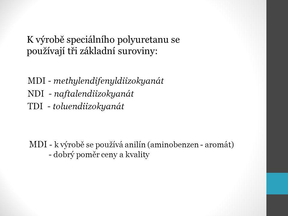 K výrobě speciálního polyuretanu se používají tři základní suroviny: