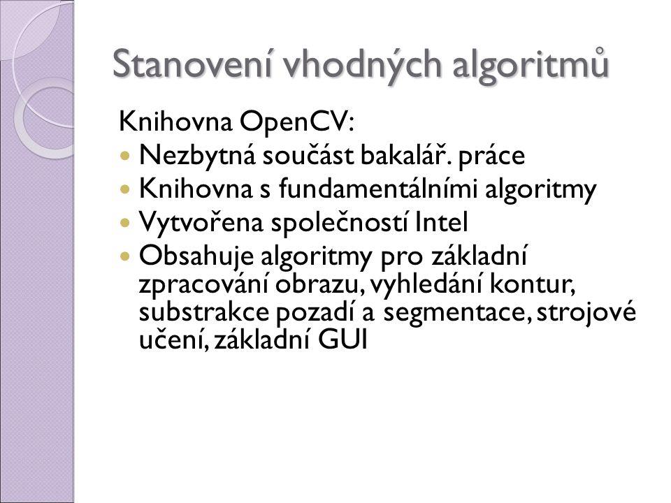 Stanovení vhodných algoritmů