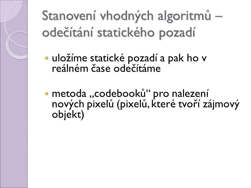 Stanovení vhodných algoritmů – odečítání statického pozadí
