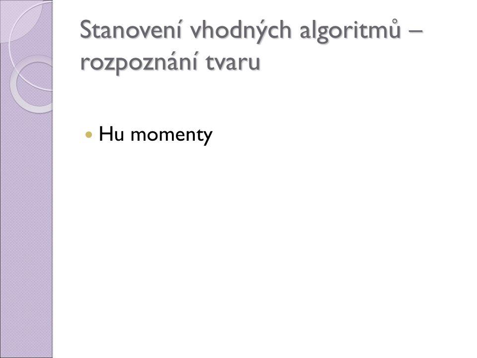 Stanovení vhodných algoritmů – rozpoznání tvaru
