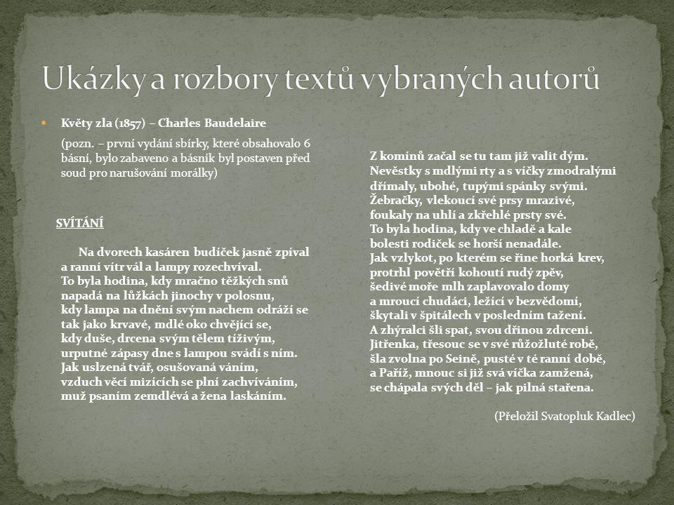 Ukázky a rozbory textů vybraných autorů