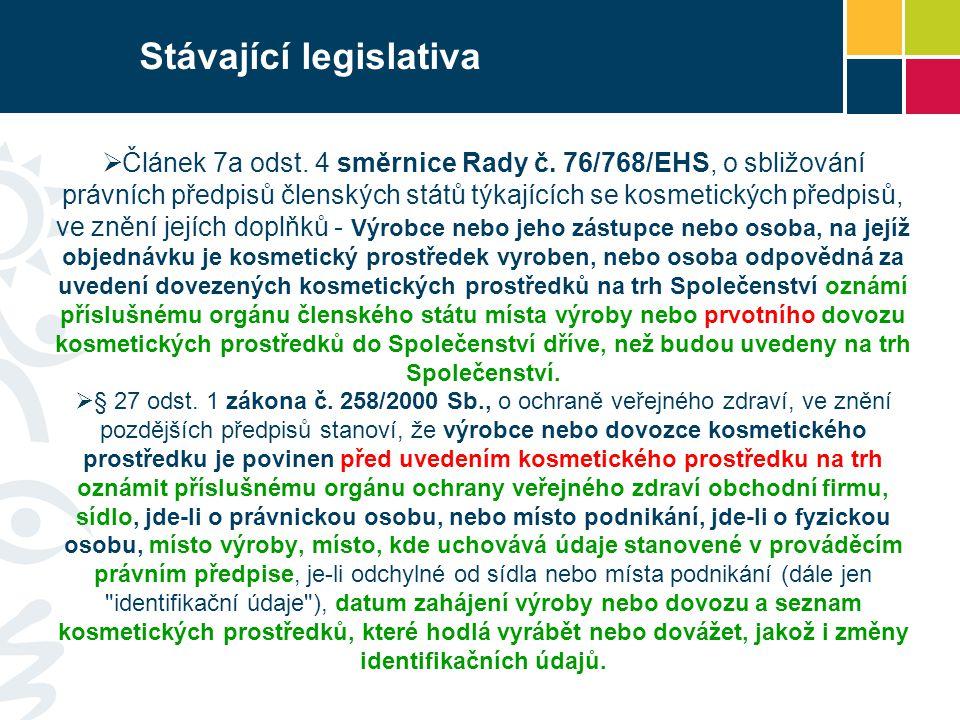 Stávající legislativa