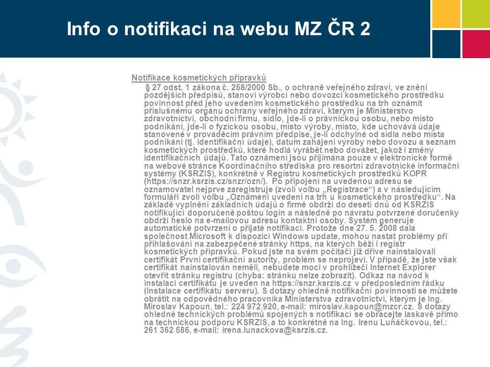 Info o notifikaci na webu MZ ČR 2