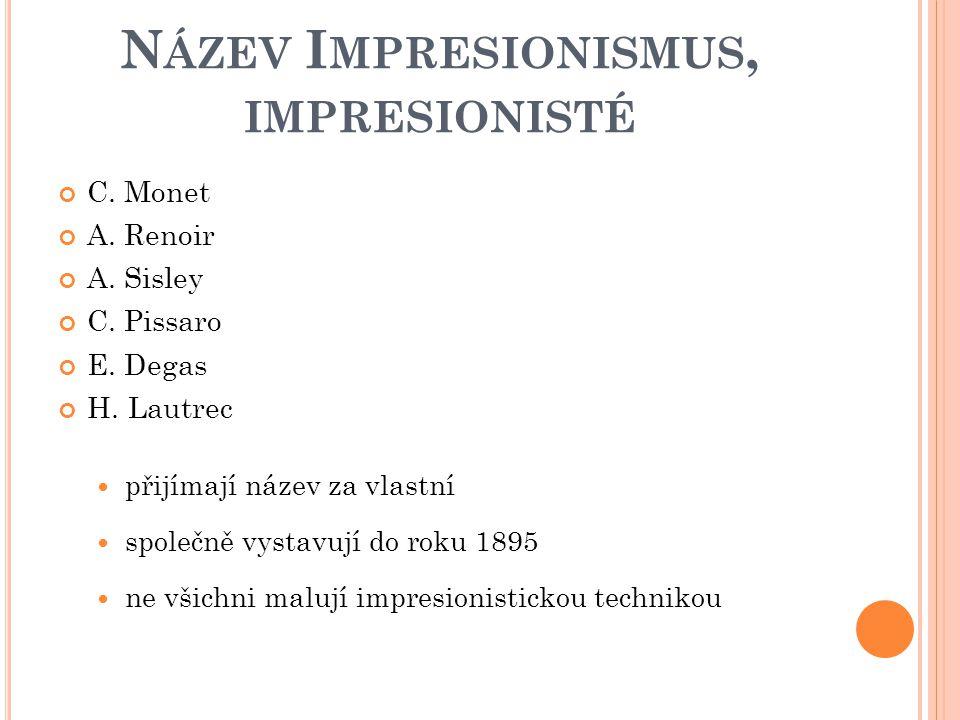 Název Impresionismus, impresionisté