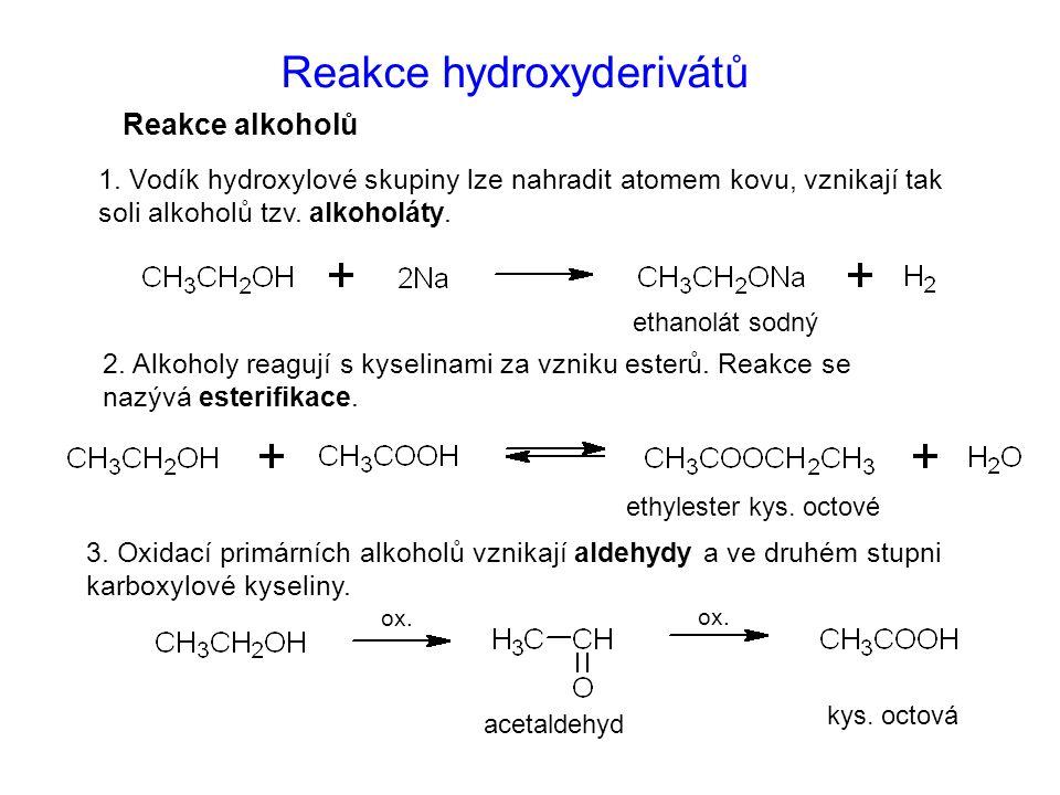 Reakce hydroxyderivátů
