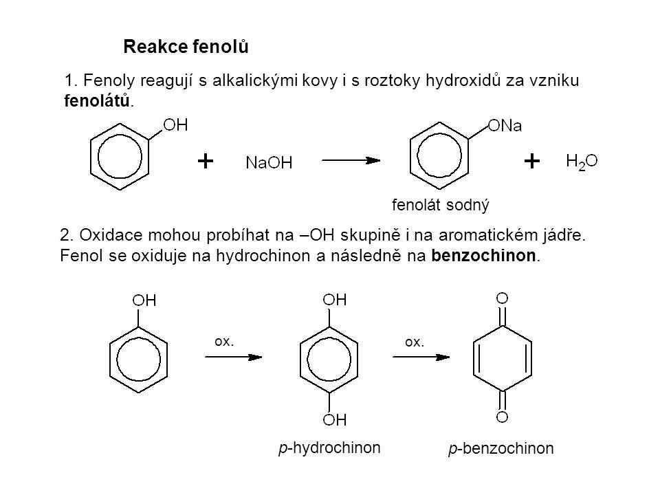 Reakce fenolů 1. Fenoly reagují s alkalickými kovy i s roztoky hydroxidů za vzniku fenolátů. fenolát sodný.