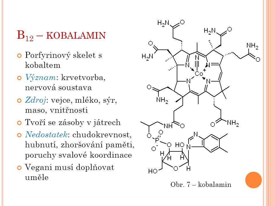 B12 – kobalamin Porfyrinový skelet s kobaltem