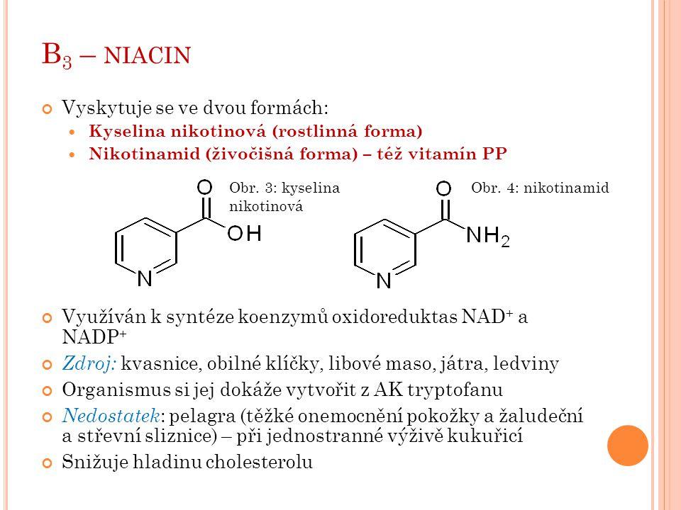 B3 – niacin Vyskytuje se ve dvou formách: