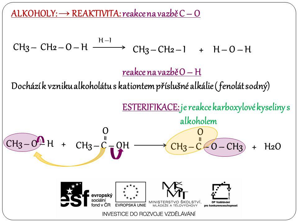 ALKOHOLY: → REAKTIVITA: reakce na vazbě C – O