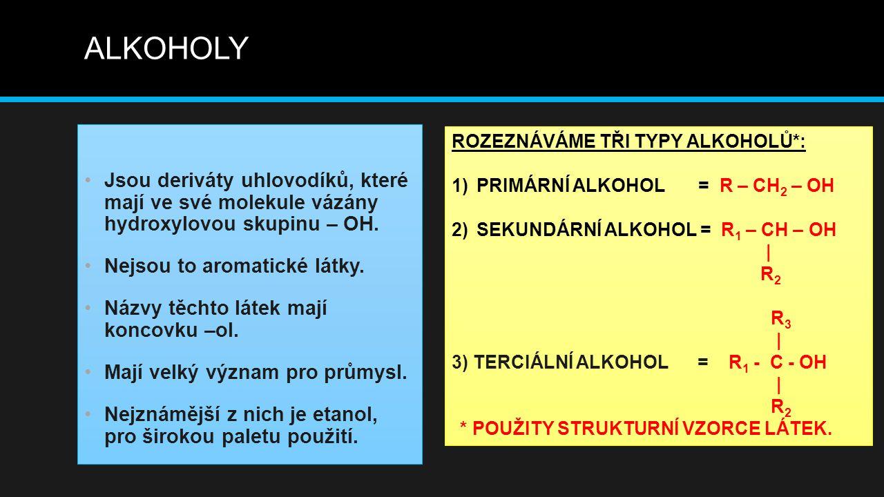 ALKOHOLY Jsou deriváty uhlovodíků, které mají ve své molekule vázány hydroxylovou skupinu – OH. Nejsou to aromatické látky.