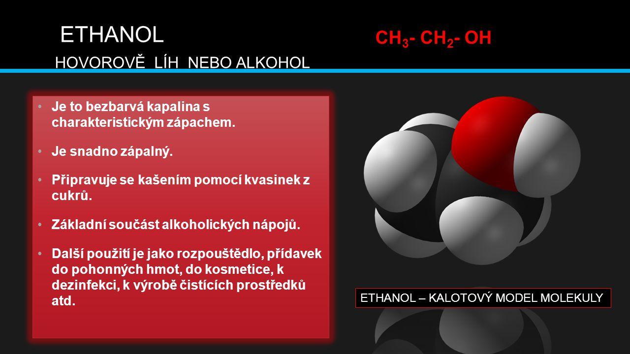 ETHANOL CH3- CH2- OH HOVOROVĚ LÍH NEBO ALKOHOL