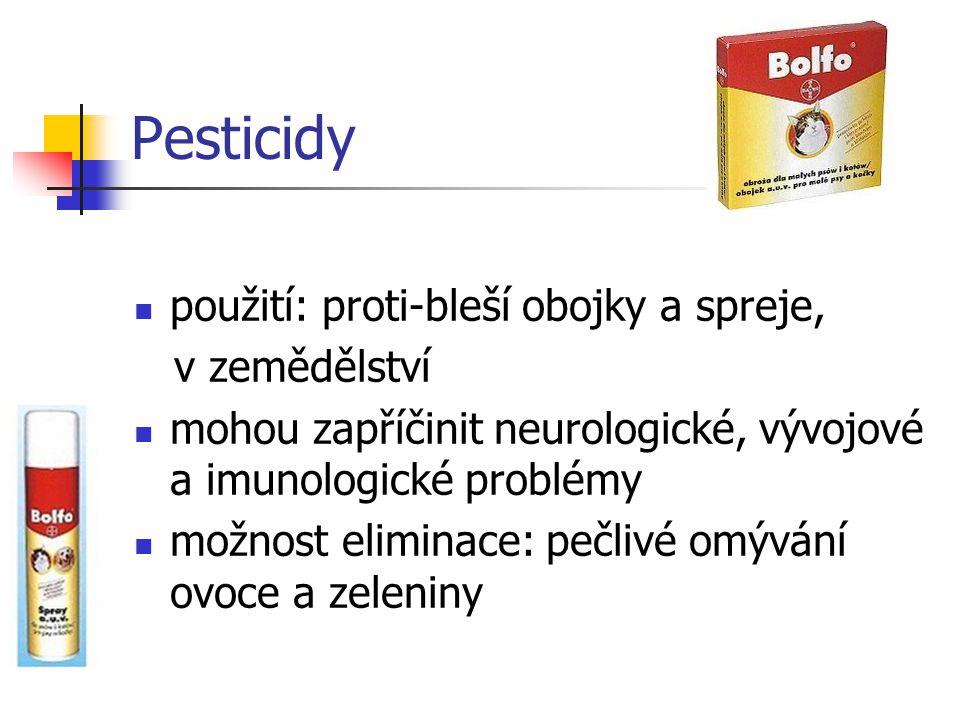 Pesticidy použití: proti-bleší obojky a spreje, v zemědělství