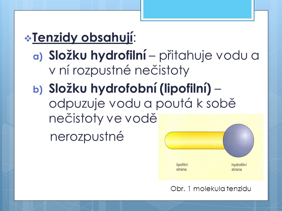 Složku hydrofilní – přitahuje vodu a v ní rozpustné nečistoty