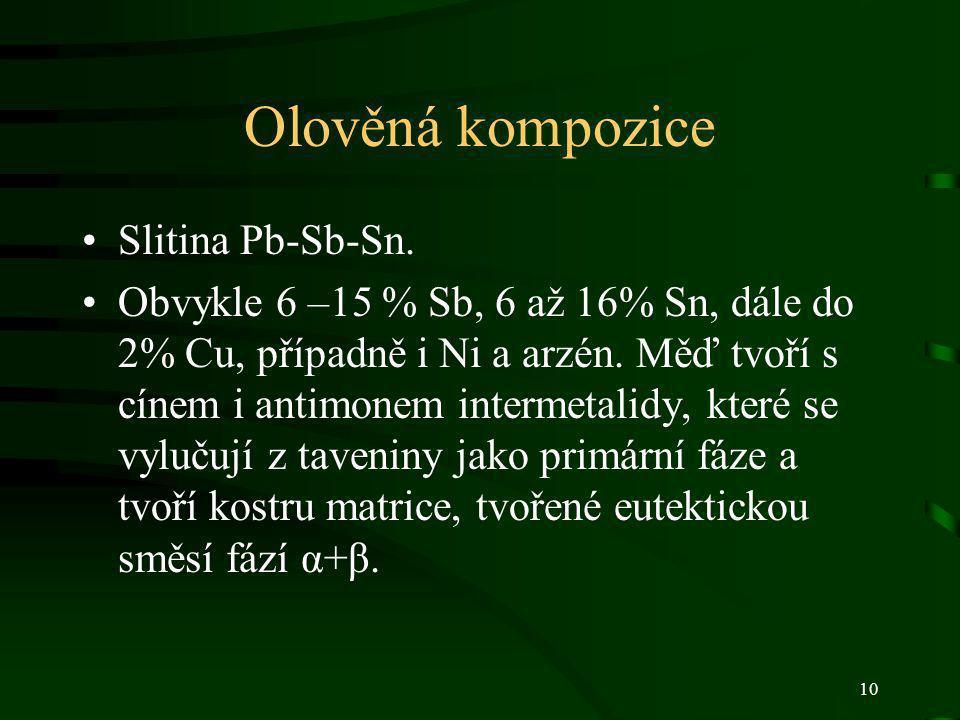 Olověná kompozice Slitina Pb-Sb-Sn.
