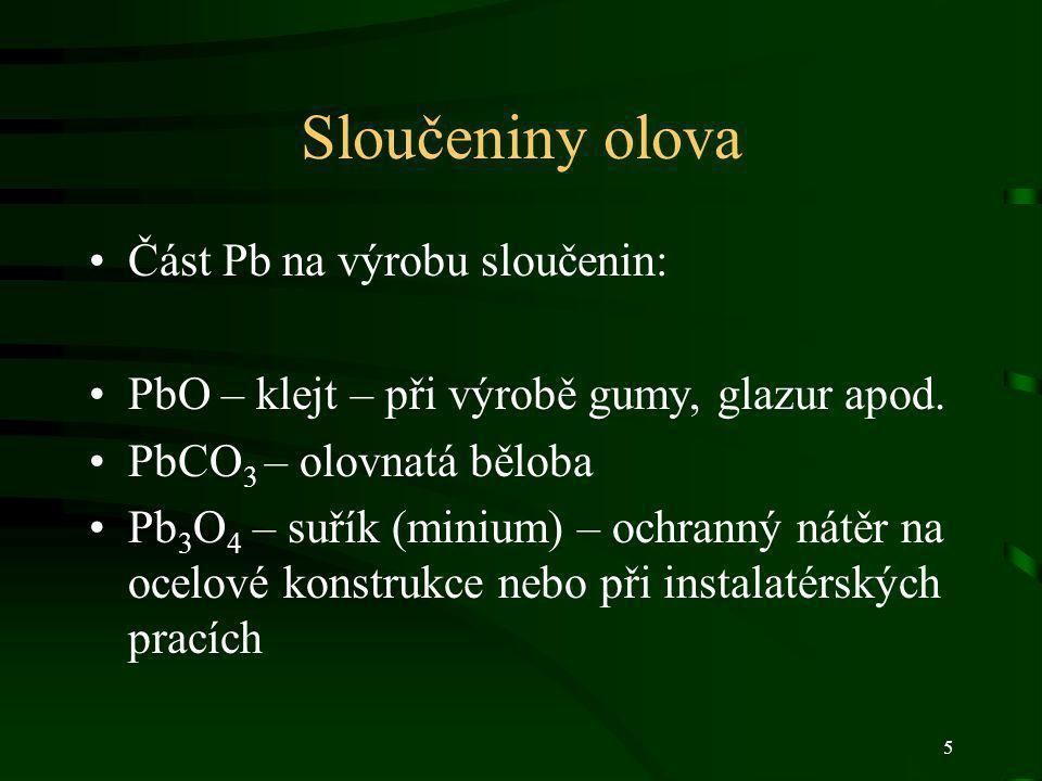 Sloučeniny olova Část Pb na výrobu sloučenin: