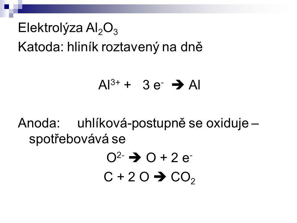 Elektrolýza Al2O3 Katoda: hliník roztavený na dně. Al3+ + 3 e-  Al. Anoda: uhlíková-postupně se oxiduje – spotřebovává se.