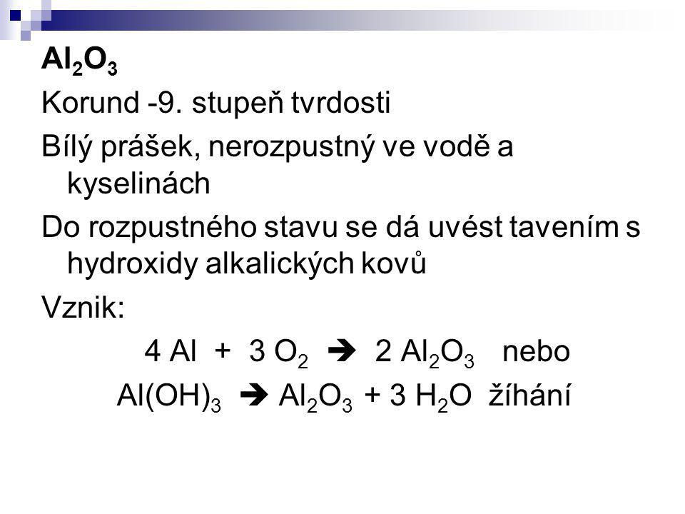 Al2O3 Korund -9. stupeň tvrdosti. Bílý prášek, nerozpustný ve vodě a kyselinách.