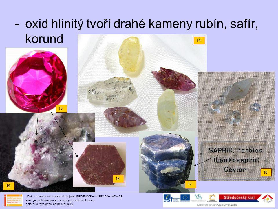 oxid hlinitý tvoří drahé kameny rubín, safír, korund