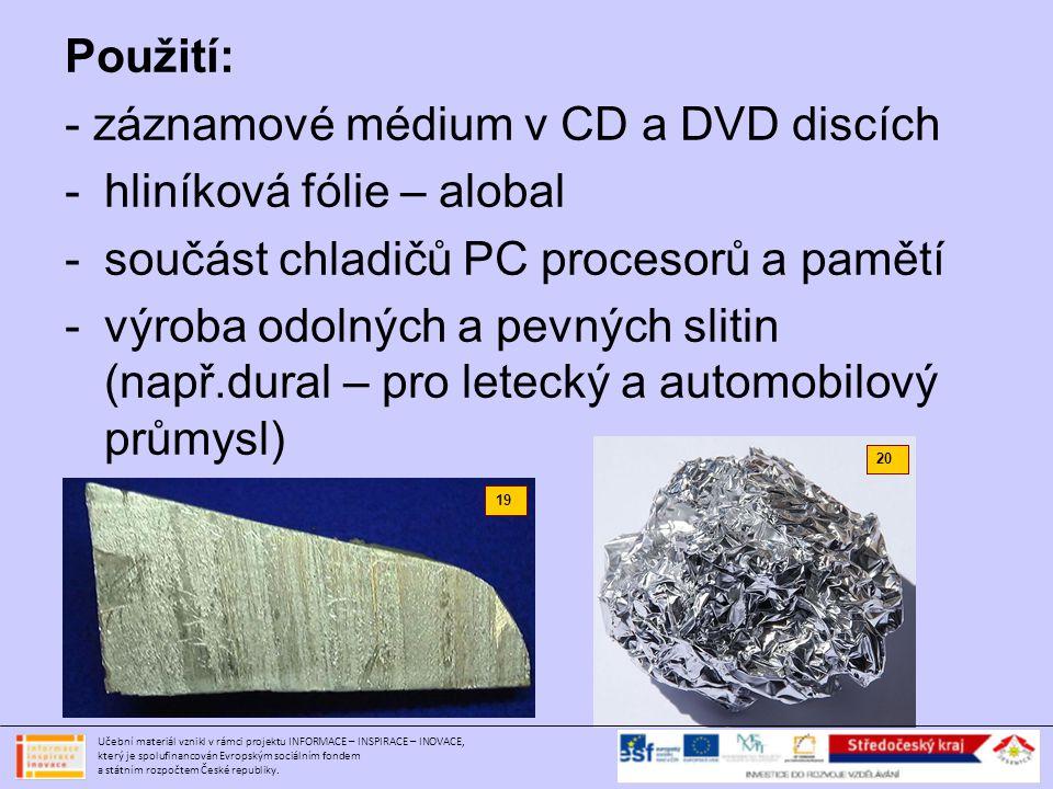 - záznamové médium v CD a DVD discích hliníková fólie – alobal