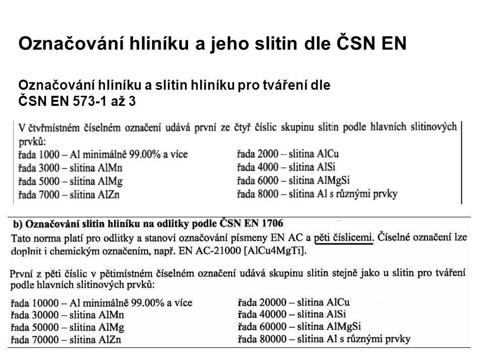 Označování hliníku a jeho slitin dle ČSN EN