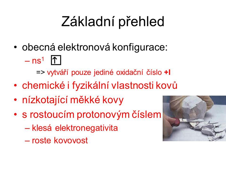 Základní přehled obecná elektronová konfigurace:
