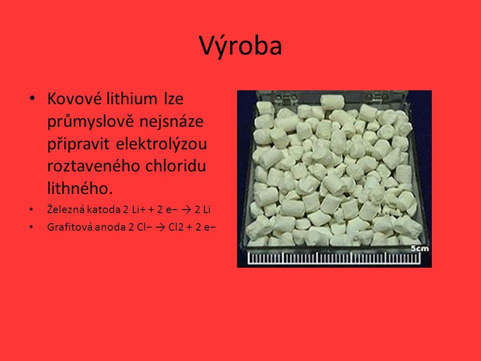 Výroba Kovové lithium lze průmyslově nejsnáze připravit elektrolýzou roztaveného chloridu lithného.