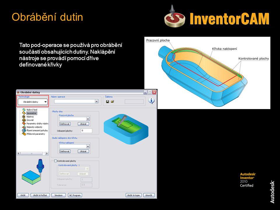 Obrábění dutin Tato pod-operace se používá pro obrábění součástí obsahujících dutiny.