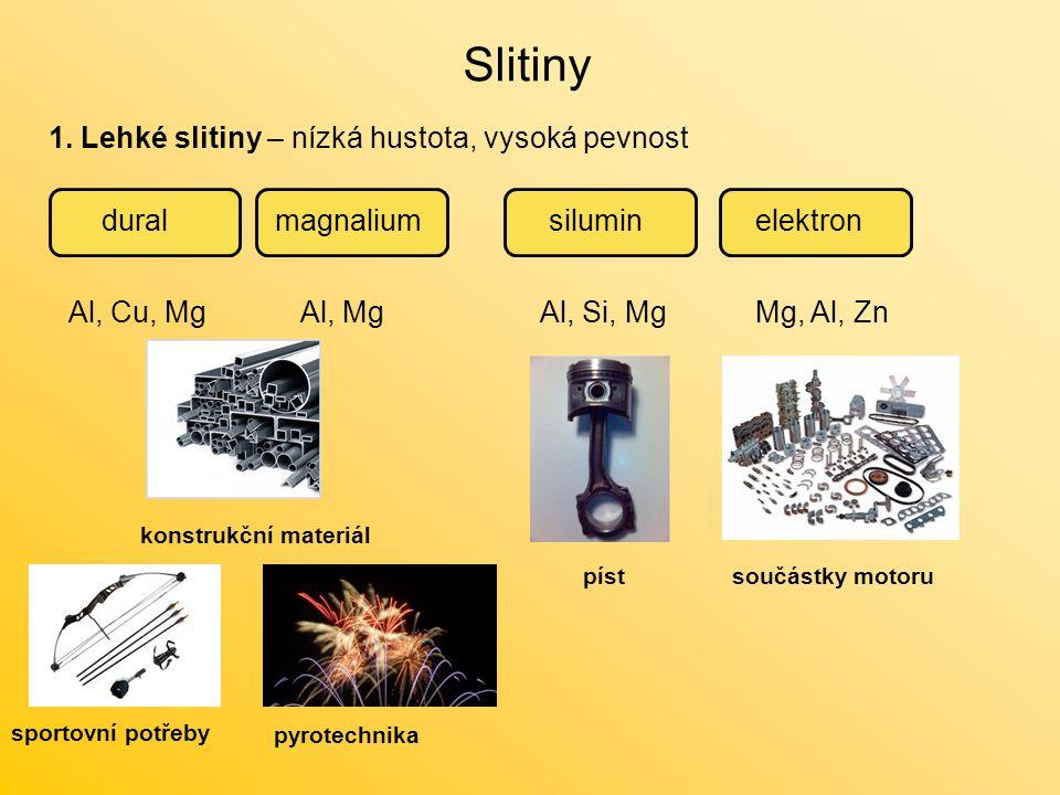 Slitiny 1. Lehké slitiny – nízká hustota, vysoká pevnost dural