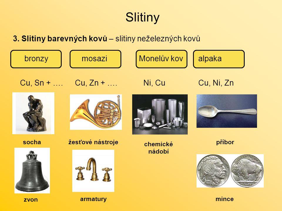 Slitiny 3. Slitiny barevných kovů – slitiny neželezných kovů bronzy
