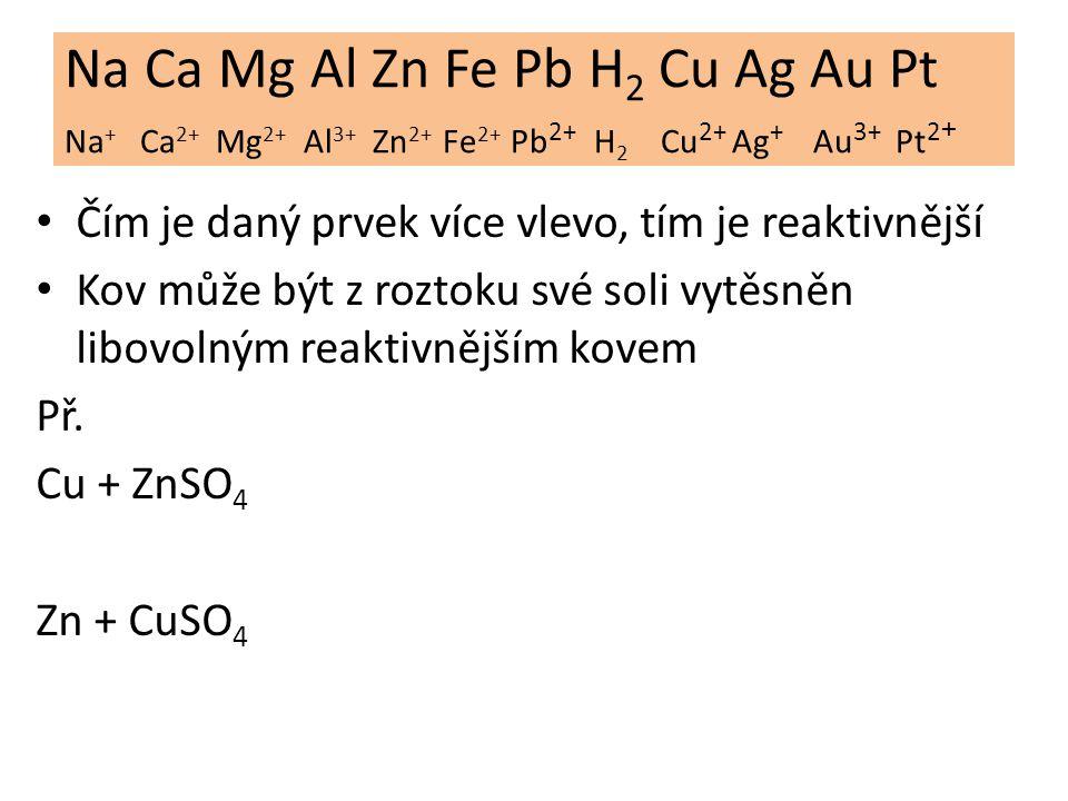 Na Ca Mg Al Zn Fe Pb H2 Cu Ag Au Pt Na+ Ca2+ Mg2+ Al3+ Zn2+ Fe2+ Pb2+ H2 Cu2+ Ag+ Au3+ Pt2+