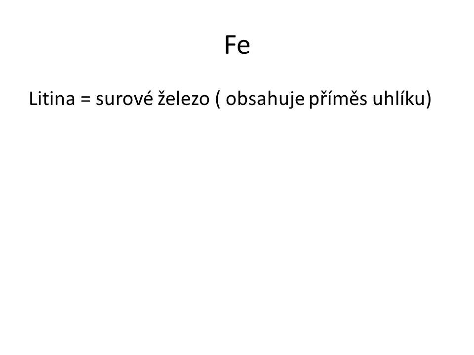 Fe Litina = surové železo ( obsahuje příměs uhlíku)