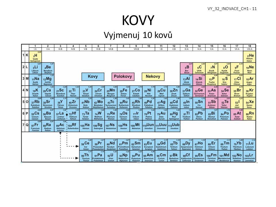 VY_32_INOVACE_CH1 - 11 KOVY Vyjmenuj 10 kovů