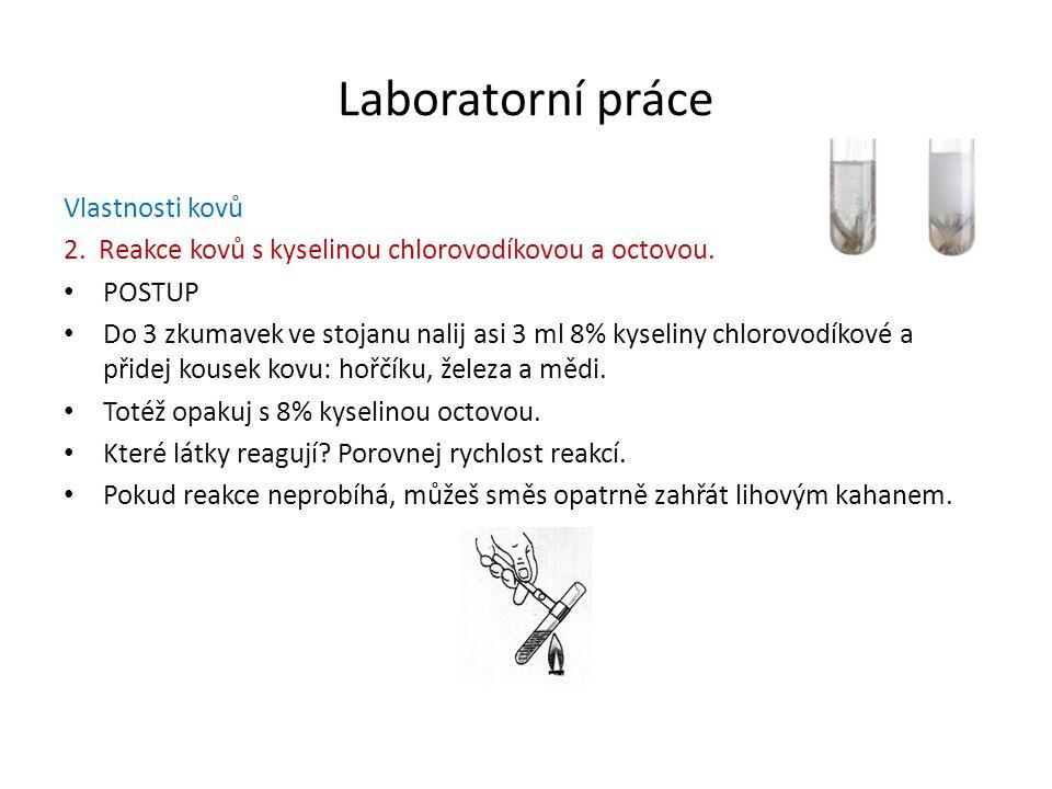 Laboratorní práce Vlastnosti kovů