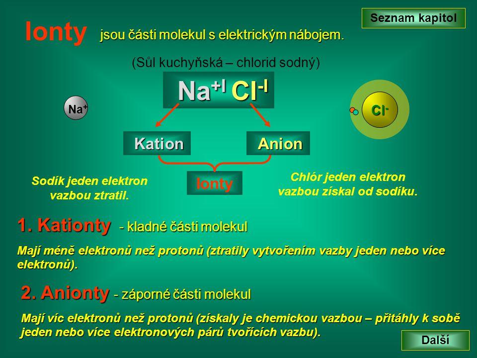 Ionty Na+I Cl-I 1. Kationty - kladné části molekul