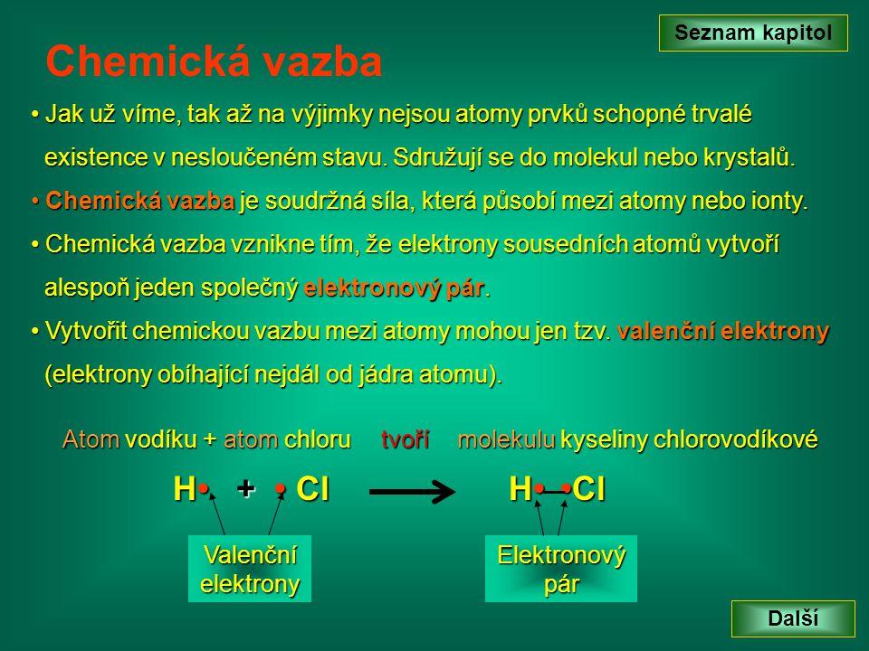 Seznam kapitol Chemická vazba. Jak už víme, tak až na výjimky nejsou atomy prvků schopné trvalé.