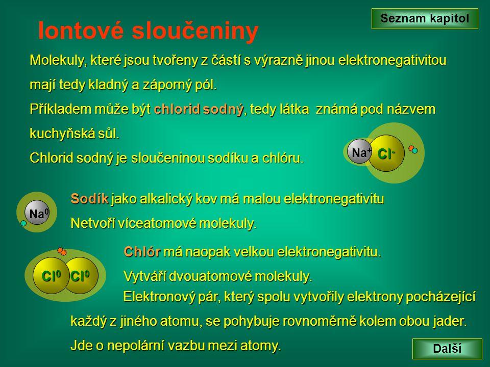 Seznam kapitol Iontové sloučeniny. Molekuly, které jsou tvořeny z částí s výrazně jinou elektronegativitou.
