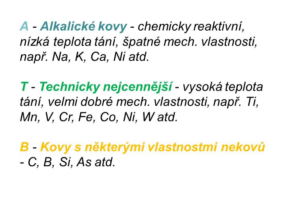 A - Alkalické kovy - chemicky reaktivní, nízká teplota tání, špatné mech. vlastnosti, např. Na, K, Ca, Ni atd.