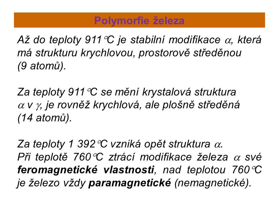 Polymorfie železa Až do teploty 911C je stabilní modifikace , která má strukturu krychlovou, prostorově středěnou.