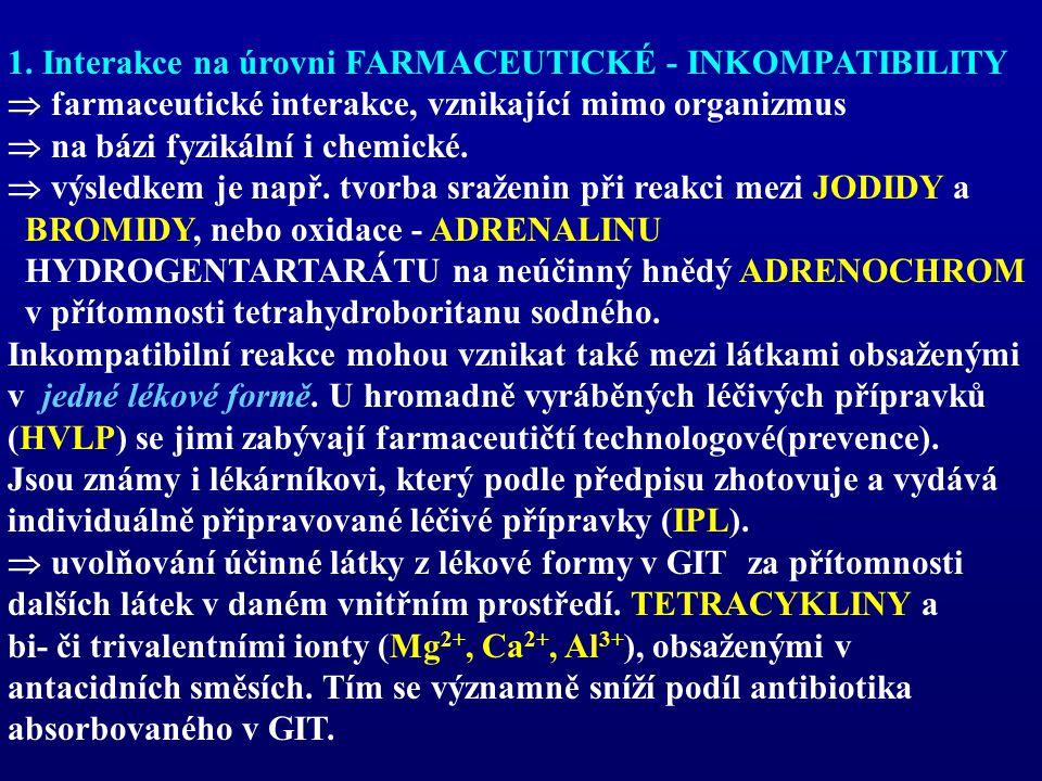 1. Interakce na úrovni FARMACEUTICKÉ - INKOMPATIBILITY