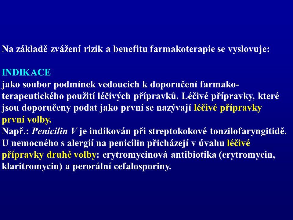 Na základě zvážení rizik a benefitu farmakoterapie se vyslovuje: