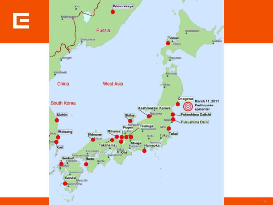 Původ zemětřesení 11. března 2011 ve 14:46 japonského času (5:46 UTC)