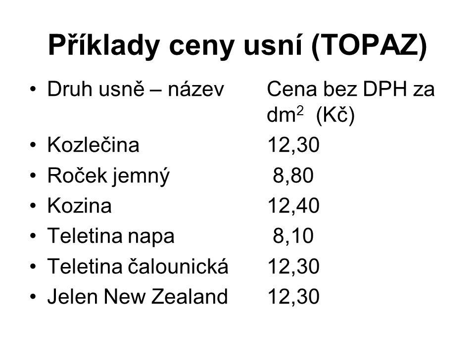 Příklady ceny usní (TOPAZ)