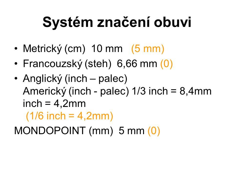 Systém značení obuvi Metrický (cm) 10 mm (5 mm)