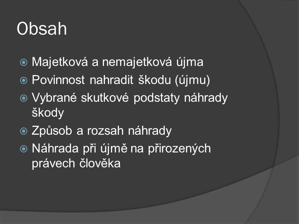 Obsah Majetková a nemajetková újma Povinnost nahradit škodu (újmu)