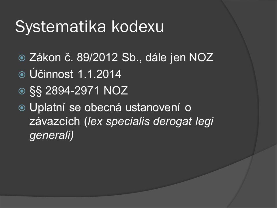 Systematika kodexu Zákon č. 89/2012 Sb., dále jen NOZ