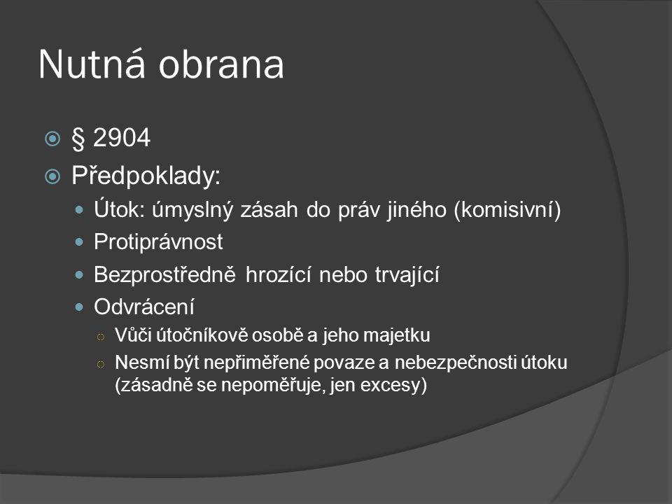 Nutná obrana § 2904 Předpoklady: