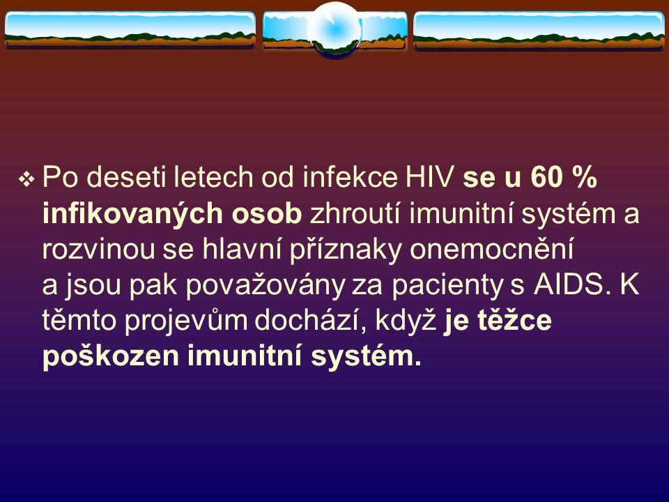 Po deseti letech od infekce HIV se u 60 % infikovaných osob zhroutí imunitní systém a rozvinou se hlavní příznaky onemocnění a jsou pak považovány za pacienty s AIDS.